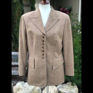 Escada tan wool blazer jacket sz 42 / 12